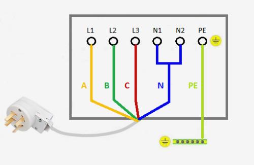 Схема трехфазного подключения