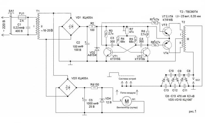 Схема стандартного ионизатора