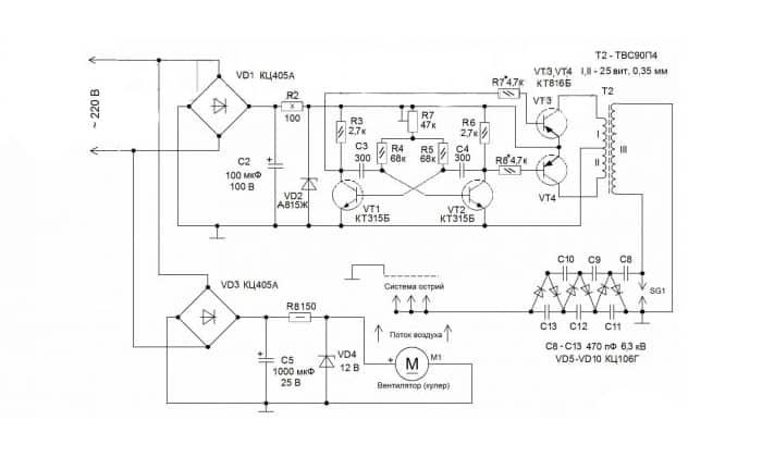 Схема безопасного ионизатора