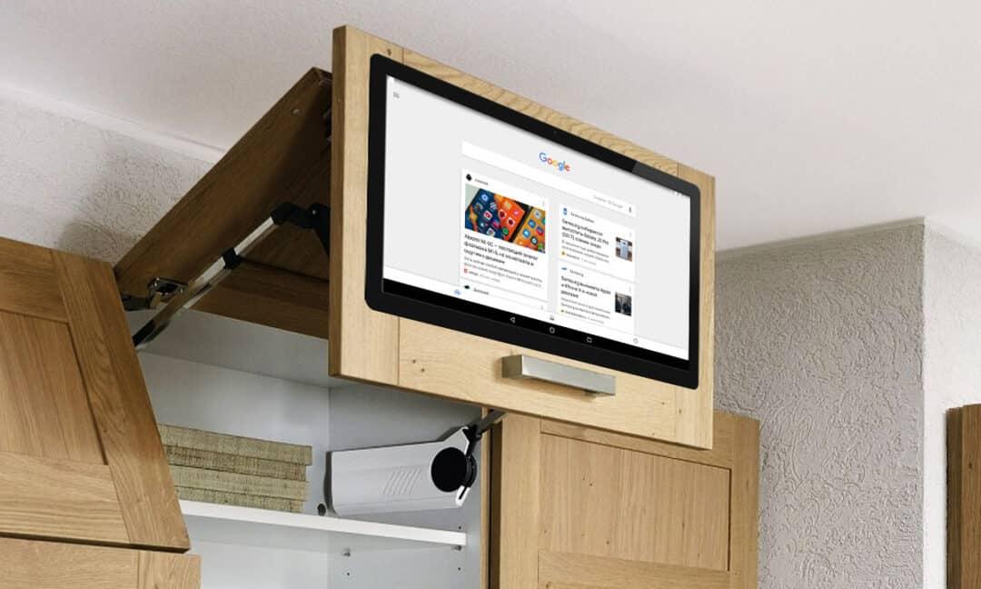 Телевизор на кухне встроенный в фасад