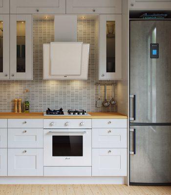 Как установить наклонную вытяжку на кухне