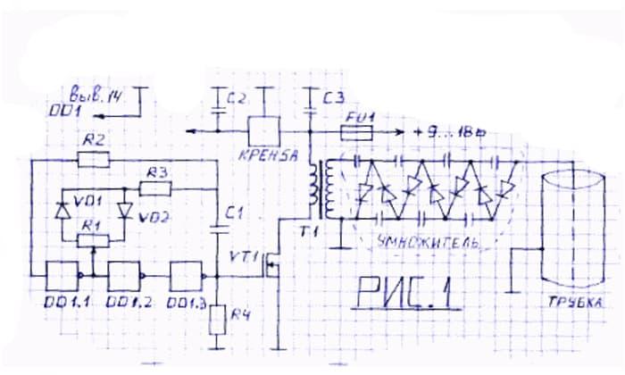 Ионизатор для ДВС схема