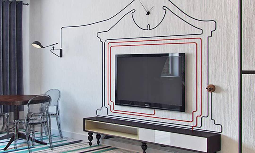 Декорирование проводов от телевизора на стене