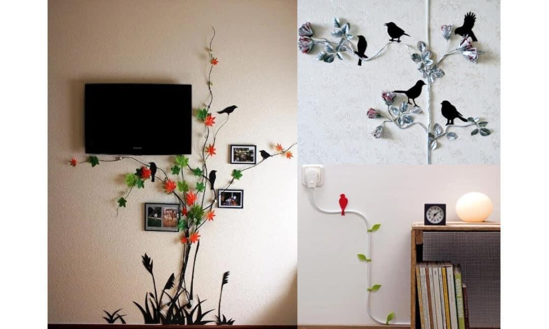 Декорирование проводов от телевизора растениями