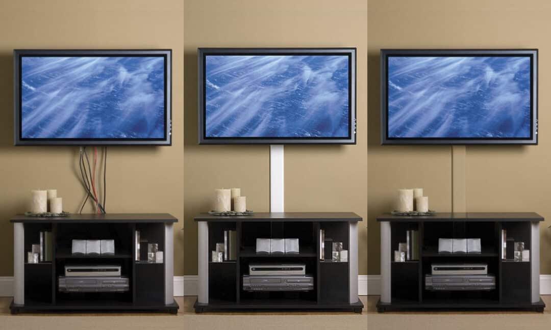 Спрятанные в декоративной панели провода от телевизора